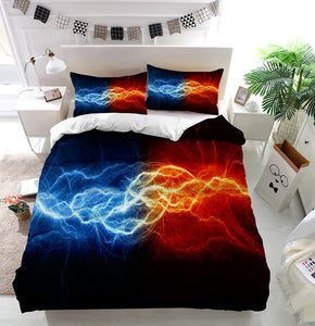Fire and ice lightning Duvet Cover Bedding Set