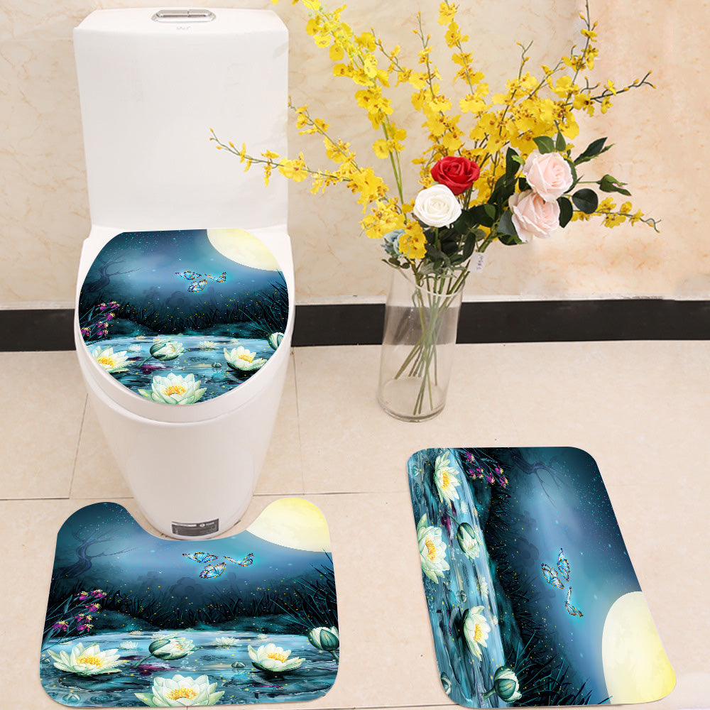 Starry Night in the swamp 3 Piece Toilet Cover Set