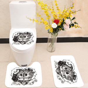 Skull couple wedding day 3 Piece Toilet Cover Set
