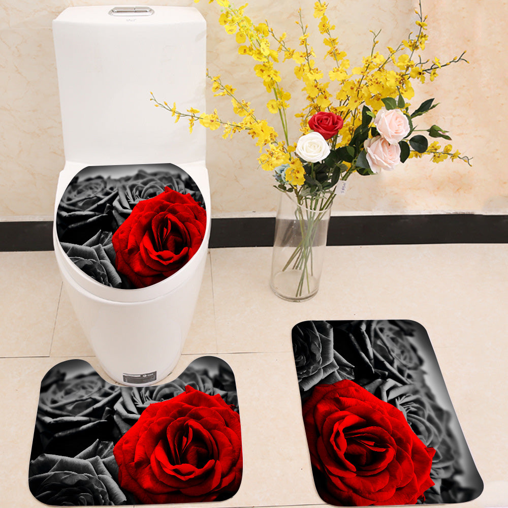 Red rose black roses 3 Piece Toilet Cover Set