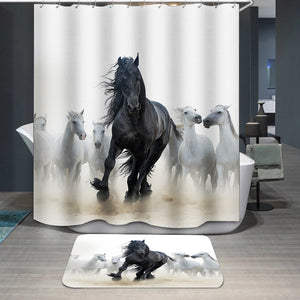 Black frisian stallion Shower Curtain