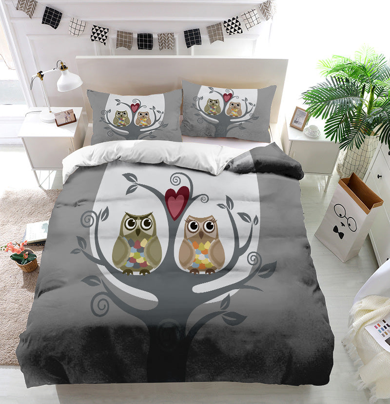 Two owls and love tree Duvet Cover Bedding Set