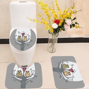 Two owls and love tree 3 Piece Toilet Cover Set