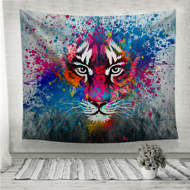 Coloful angry tiger Wall Tapestry