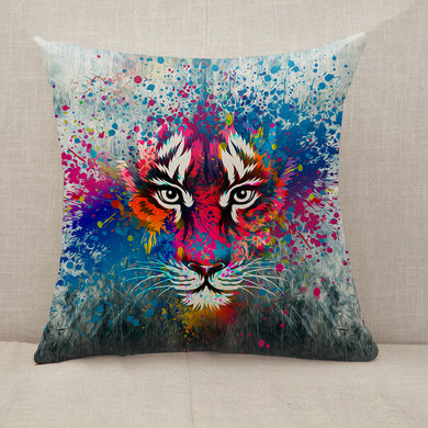 Coloful angry tiger Throw Pillow [With Inserts]
