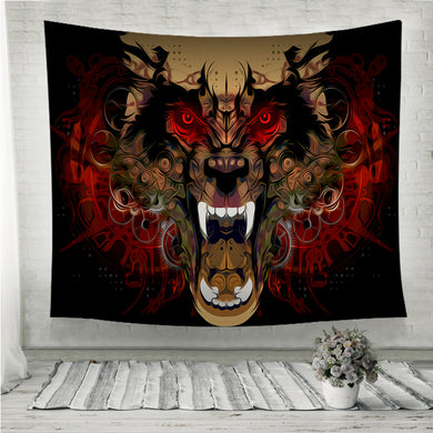 Tiger head red eye Wall Tapestry