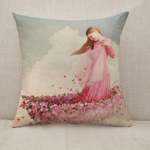 Girl in boat of flowers Throw Pillow [With Inserts]