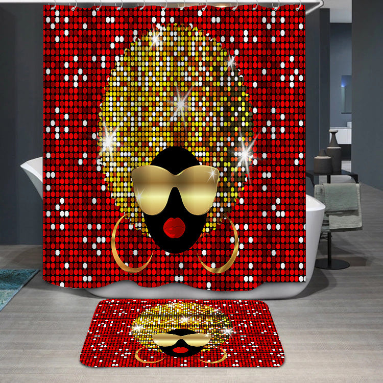 Shiny hair afro woman Shower Curtain