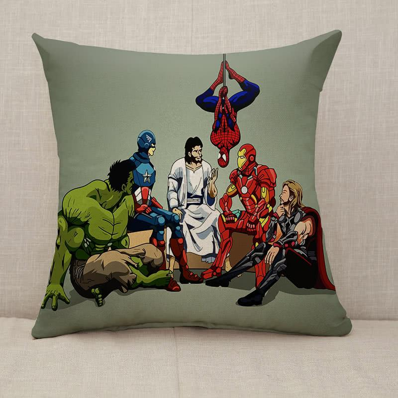Hero and Jesus Throw Pillow [With Inserts]