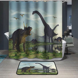 The family dinosaur Shower Curtain