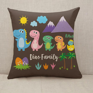 Cute Dinosaur Family Throw Pillow [With Inserts]