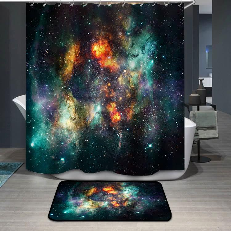 ArtisticSupernova Explosions In Multicolored Glowing Nebula Galaxy Shower Curtain