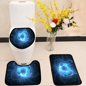 Blue glowing giant lightning energy field in space 3 Piece Toilet Cover Set