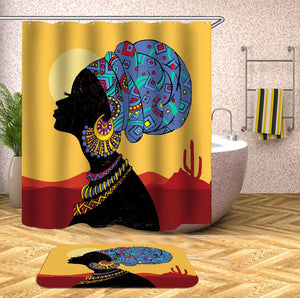 Ethnic pattern african woman Shower Curtain