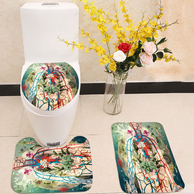 Meat green 3 Piece Toilet Cover Set
