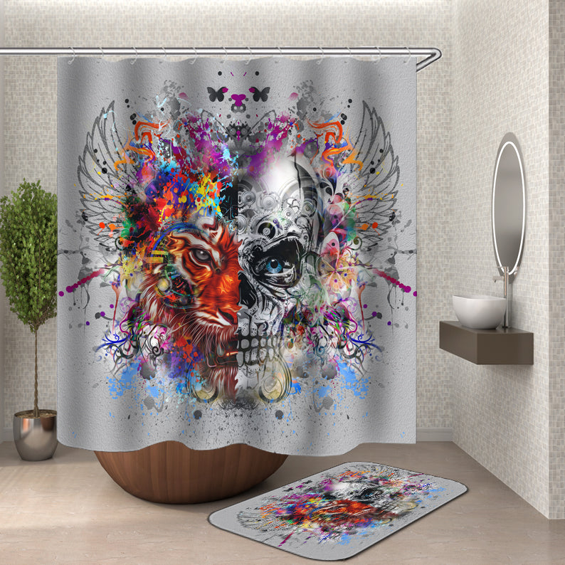 Tiger and Skeleton Shower Curtain