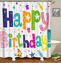 Load image into Gallery viewer, Happy Birthday Cake Shower Curtain