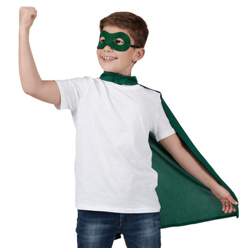 Kids Superhero Cape & Eye Mask (Green)