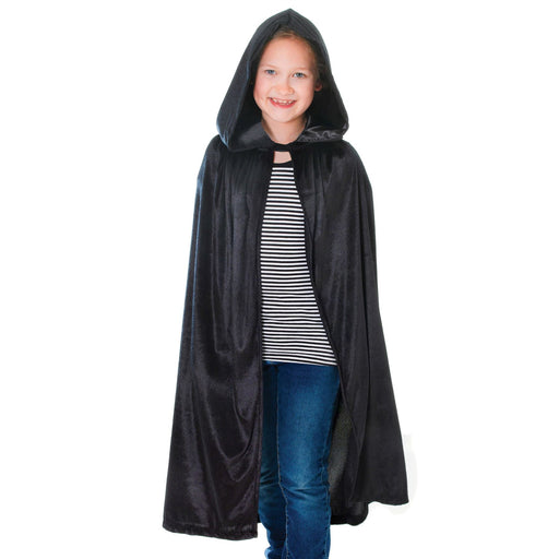 Kids Velvet Hooded Cloak (Black)