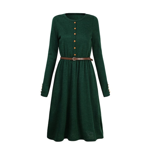 2018 Hot Sale Black Green Women Long Sleeve Knitted Button Dress Autumn Winter Dress Ladies O Neck Casual Party Dress With Belt - BuyShipSave