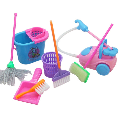 9pcs Mini Simulation Home Cleaning Tools Playset Mini Floor Broom Mop Dust Collector Toy for Barbie Doll House Cleaning - BuyShipSave