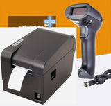 1 Wired Barcode Scanner+ clothing tag  58mm Thermal barcode printer sticker printer Qr code the non-drying label printer - BuyShipSave