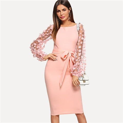 Sheinside Plain Flower Applique Elegant Bodycon Party Dress Mesh Sleeve Knee Length Belted Women Autumn Pencil Midi Dresses