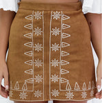 Symmetrical embroidered suede bag hip skirt early autumn street skirt,Embroidery A-line Skirt (Black and Brown)