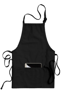 Black Bib Adjustable Apron (3 Pockets)