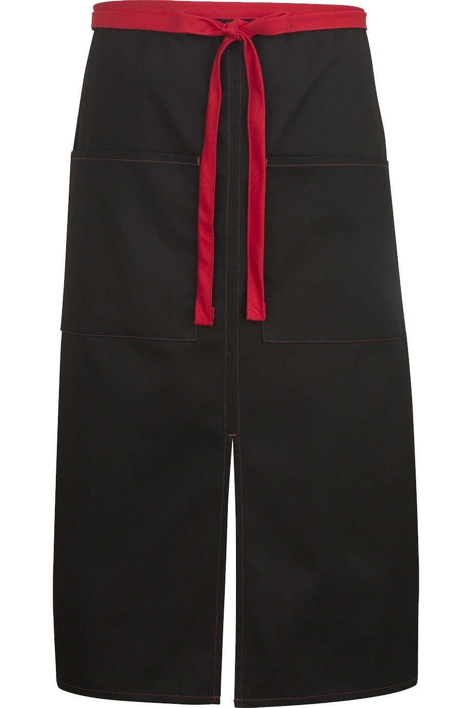 Black w/ Red Split Bistro Color Block Apron (2 Pockets)