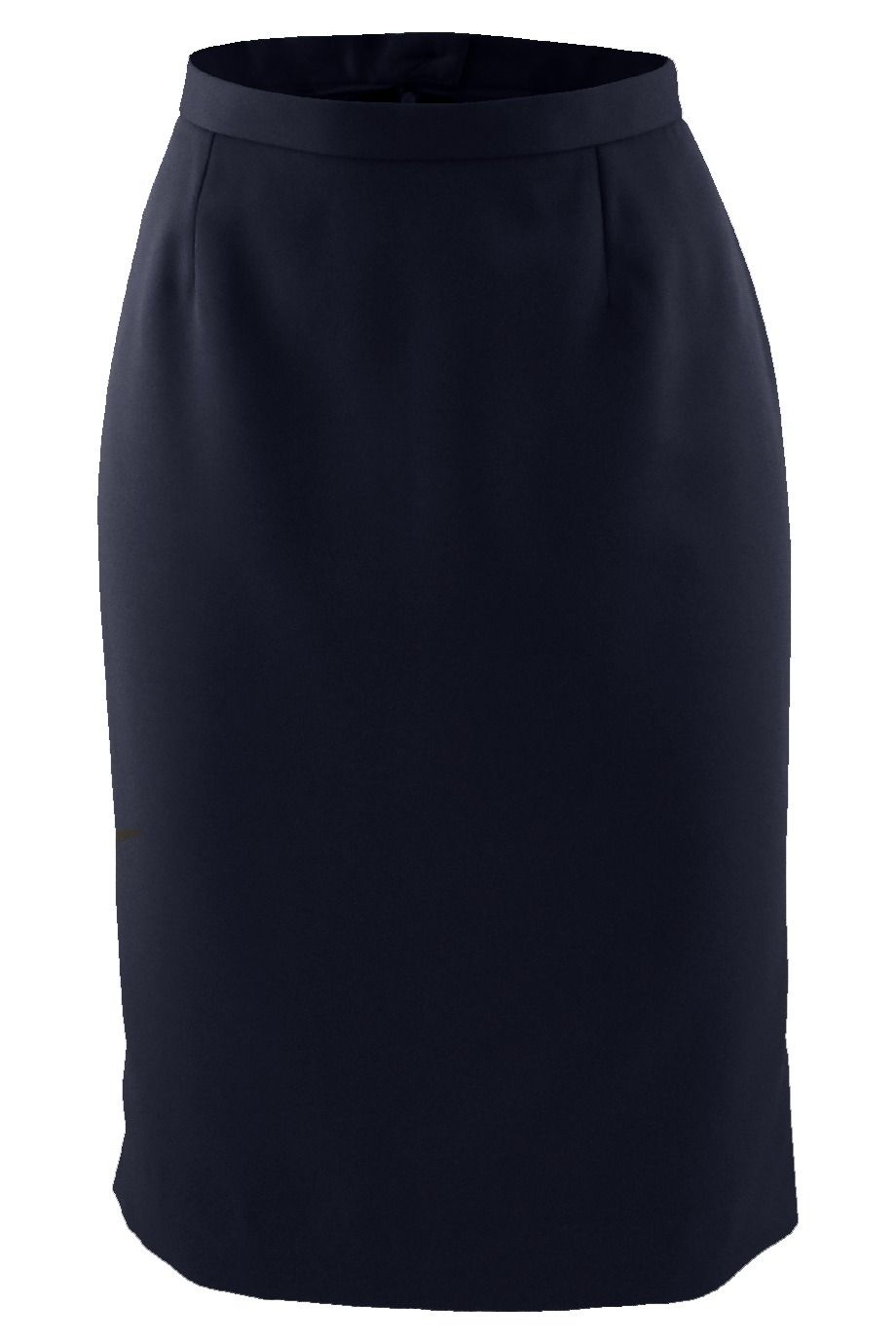 Navy Microfiber Straight Skirt
