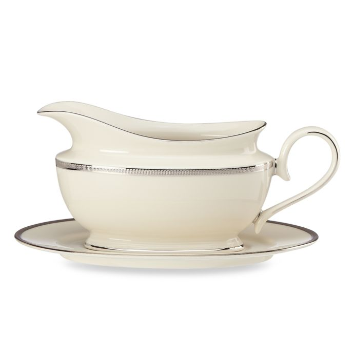 Lenox Tuxedo Platinum Sauce Boat and Stand
