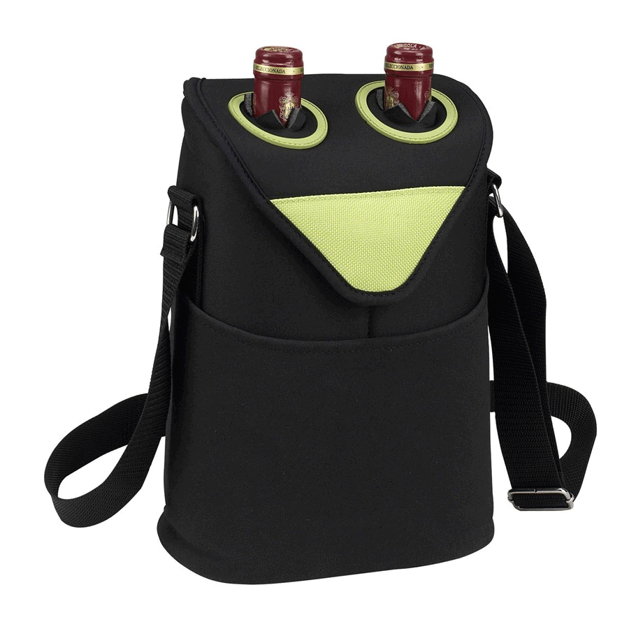 Picnic at Ascot Neoprene Two Bottle Tote - Apple