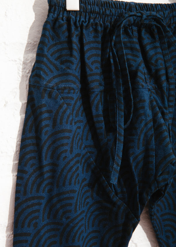 Pemba Pant in Wave Block Print