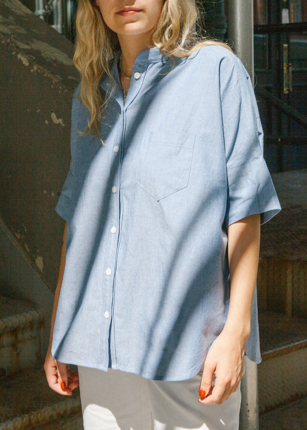Oversized Stand Collar Shirt in Blue Oxford