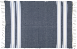 Cotton dhurrie Navy with Blue and White stripes