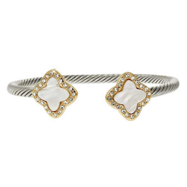 Two Tone Open Cuff Mother of Pearl Clover CZ Bracelet