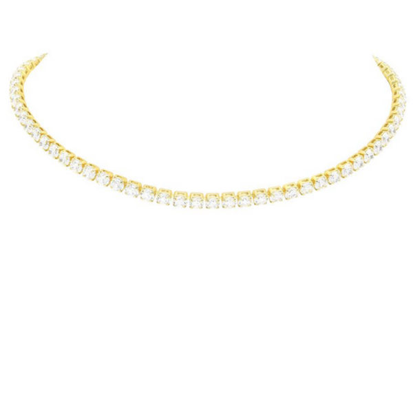 Gold Plated Cubic Zirconia Tennis Necklace