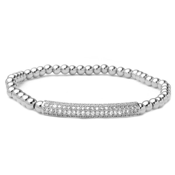 Silver Brass Beaded Stretch Bracelet with CZ Pave Bar Station