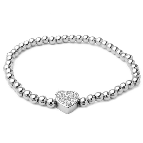 Silver Brass Beaded Stretch Bracelet with CZ Pave Heart Station