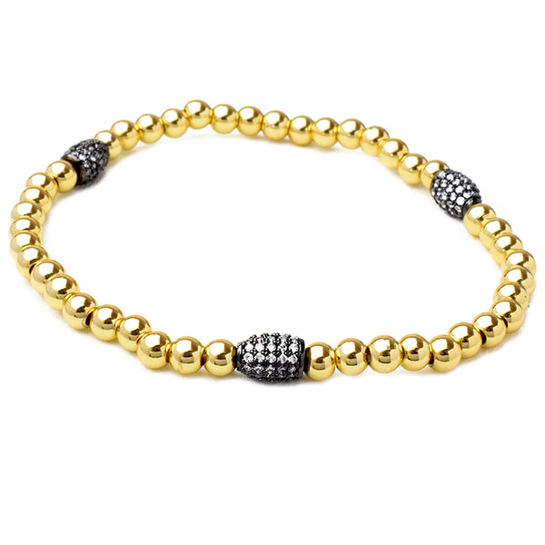 Gold Brass Beaded 4mm Cubic Zirconia Stretch Bracelet