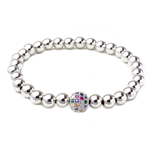 Silver Brass Beaded Multi Color Cubic Zirconia Stretch Bracelet