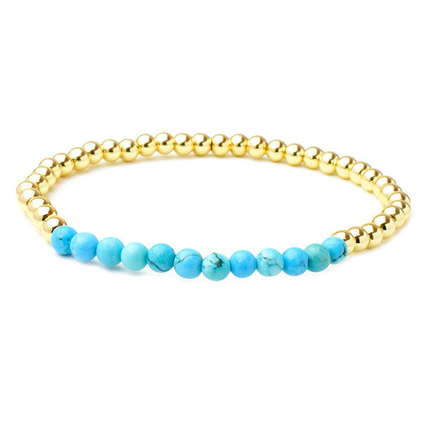 Gold Brass Beaded Turquoise Stretch Bracelet with Crystals