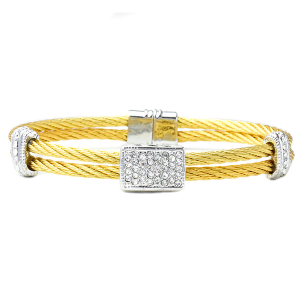 Two Tone Cubic Zirconia Open Cuff Square Pave Bracelet