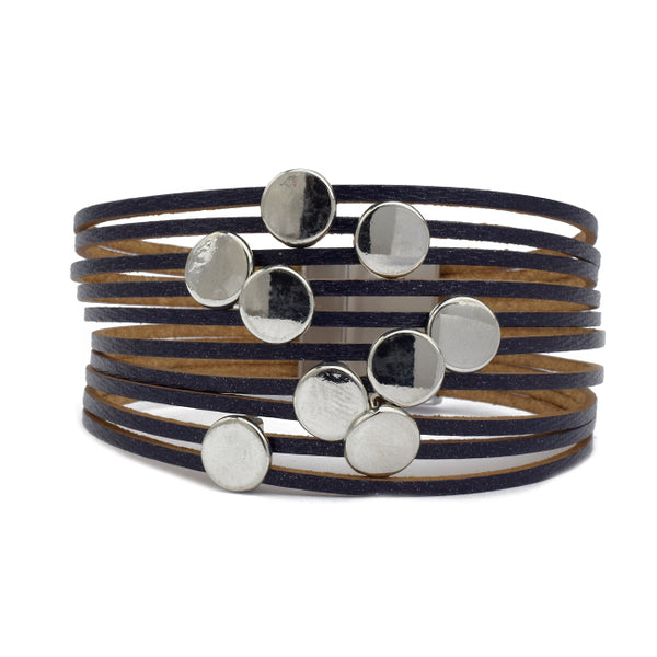 Multi Strand Leather Magnetic Bracelet with Silver Stations