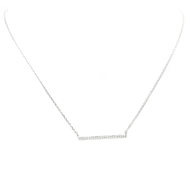 Silver and Clear Cubic Zirconia Bar Pendant Necklace