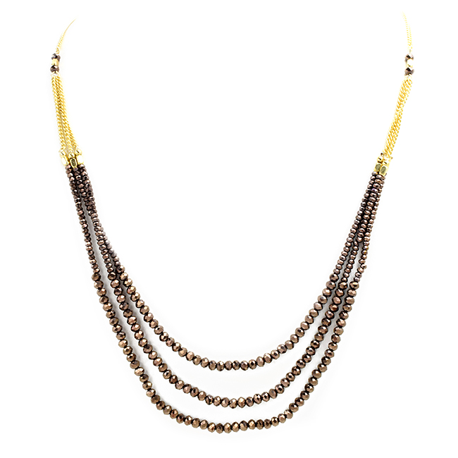 Crystal Beaded Multi Strand Layered Necklace
