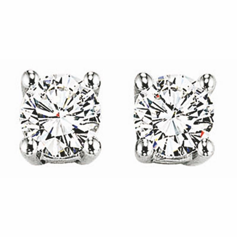 14K White Gold Diamond Studs 1 1/2 ct
