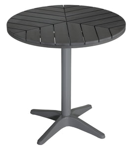 "Jaxon Round Aluminum Outdoor Bistro Table in Poly Resin, Silver / Slate Grey 28"" Round"