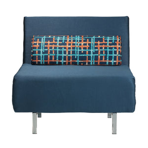 Cortesi Home Savion Navy Convertible Accent Chair Bed